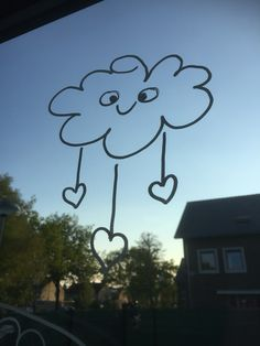 Its raining love window #☀️ #raamtekening #windowdrawing #krijtstift #chalkboardart #love #rain #doodle