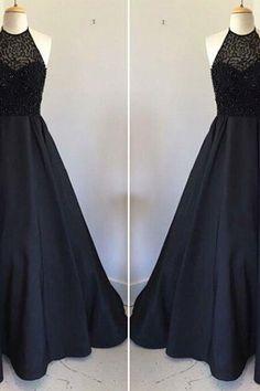 prom dresses,New Arrival black round neck satin long prom dress, black evening dress