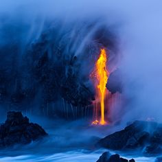 Lava by the ocean