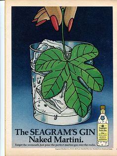 1976 Seagram's Gin Naked Martini Fig Leaf Color Retro Vintage Original Ad | eBay