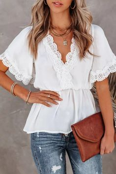 Summer Women Blouses Shirts Elegant Solid Lace Hollow Out Office Lady Top Sexy V-Neck Backless Lace-Up Casual Short Sleeve Tops Couture, Short Tops, Types Of Sleeves, Short Sleeves, Long Sleeve, Shirt Blouses, Blouses For Women, V Neck, White Lace
