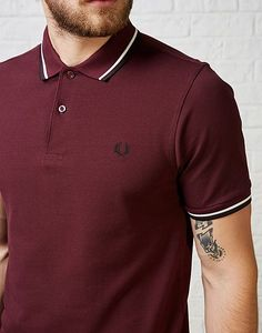 #ARKMENS Love burgundy this autumn and the Fred Perry Slim Twin Tipped Polo Shirt is a classic piece to invest in