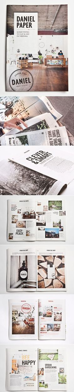layout - from the circle brand stamp, simple font, a little mosaic of pictures creates familiarity, you want to transport yourself there, like, right away. (Hotel Daniel Paper | Moodley Brand Identity)
