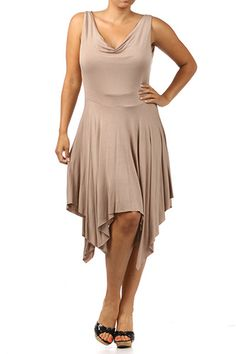 $55.35 Solid asymmetric hem dress with cowl neck,  made in 94%Rayon 6%Spandex.