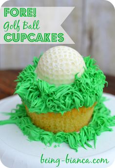 Need an easy dessert for Father's Day, birthday parties or a picnic? Golf Ball Cupcakes are super easy to make and don't even require a steady to decorate. Easy recipe instructions!