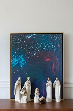 Large Navy Nativity Sky Abstract from Lindsay Letters Co. This ethereal night sky abstract is the backdrop for your nativity! We think this print will be a great addition to your mantle all year long, as it's the perfect layering piece. Shop Nativity Sky Abstract from Lindsay Letters Co.