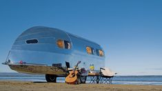 #RVing  The Bowlus Road Chief, the original riveted travel trailer designed by Hawley Bowlus in 1934 inspired a host of aluminum competitors including Airstream, Streamline, Silver Streak, Avion and Spartan. There's a mad brilliance to what designer John Long has accomplished in resurrecting the Bowlus Road Chief to make it the most aerodynamic, lightweight, luxury travel trailer available today.