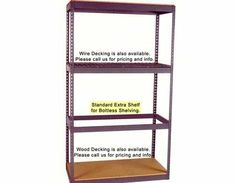 "Boltless Shelving Extra Shelf - 72"" x 30"" - 1000 lbs/shelf by Western Pacific. $25.60. These Extra Shelves for 6' Wide Boltless Long-span Shelving consist of only the shelf rails. Please note, particle board for these shelves is not included. To minimize costs, we suggest you acquire particle board from your local lumber yard. If you wish, SJF can supply it for you however you will incur additional costs. - - 1,000 lb. cap. units come with one shelf tie suppor..."