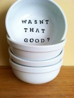 White Witty Descriptive Talking Large Ceramic Bowls by Dishert