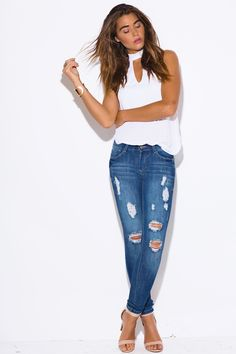 LOVE STRUCK | blue washed denim ripped mid rise fitted distressed skinny jeans - 1015store.com