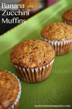 Banana Zucchini Muffins - Healthy breakfast on the go. Nobody will know they are healthy if you don't tell them!