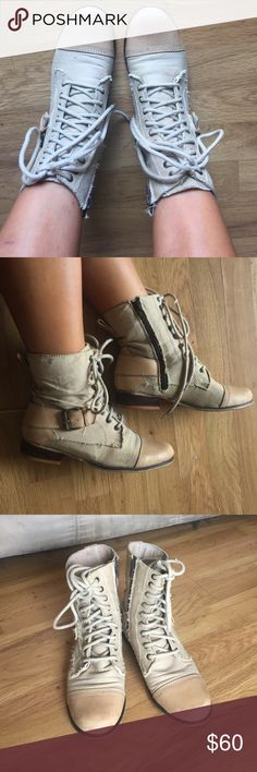 Fall 🍁🍂Beige nine west boots- used but ready 2go Fall boots...I just don't wear them in Hawaii and they just sit in my closet. Some scuffs on the front and throughout the boot. Leather/fabric upper. Made in India. Nine West Shoes Ankle Boots & Booties