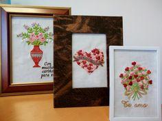 Detalles especiales, cuadritos bordados con mensaje personalizado para 14 de febrero