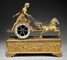 Napoleon III Gilt Bronze Figural Mantel Clock, 19th c.