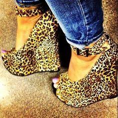 Irresistible Leopard Grain Ankle Strap Wedge Heels