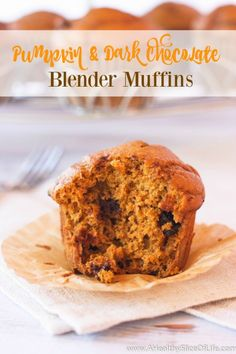 Blender Pumpkin and Dark Chocolate Muffins recipe.  These simple, fluffy muffins will delight with their fall flavor and hidden chocolate surprise. They come together quickly thanks to the no-mess help of your blender and clean up is as easy as it gets. Blend up a batch today!