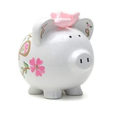 Add an artistic accent to a child's room with the Personalized I Love Paisley Piggy Bank! Make managing a child's savings fun with this hand-painted, motif design. Perfect for a nursery, baby shower, birthday and every occasion in between.