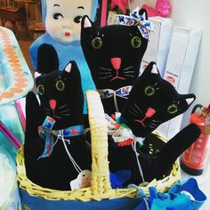 A basket of beautiful black velvet cats sewn by Sasha Black Velvet, Vintage Inspired, Disney Characters, Fictional Characters, Minnie Mouse, Basket, Creatures, Cats, Fabric