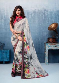 Grey Color Georgette Flower Printed Saree Product Details : Fabric of this casual wear saree is georgette. Comes along with a pink color raw silk unstitched blouse. Saree has flower design print. Ideal for casual wear or daily wear. Georgette Sarees, Silk Sarees, Grey Saree, Wedding Silk Saree, Back Neck Designs, Saree Trends, Digital Print, Red Chiffon, Saree Styles