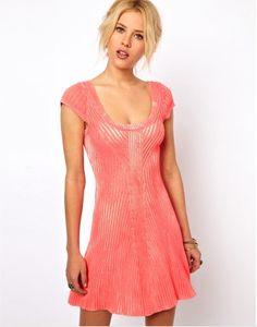 NWT $128 Free People Hot Off Knit Skater Short Sleeve Fitted Dress L Neon Pink  | eBay