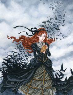 Steampunk art, Ravens, Crows, Victorian girl, Gothic fantasy print 8x10