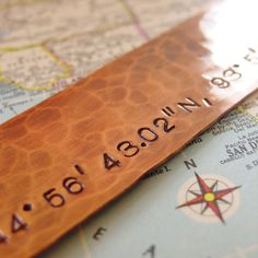 Latitude Longitude Bookmark Hand Stamped Hammered Copper