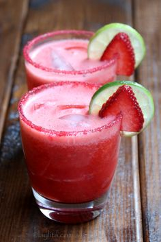 Strawberry Margarita Recipe ~ Homemade strawberry margarita recipe made with fresh strawberries, lime juice, sugar or honey, orange liqueur, and tequila. This margarita cocktail can be prepared on the rocks or frozen.
