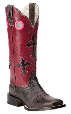 Ariat Ranchero Women's Textured Charcoal with Bling Pink Cross Inlay Top Double Welt Square Toe Western Boots