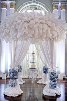 Featured Photographer: Milanes Photography; Elegant white and blue multi tier wedding cake