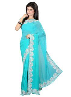 Ravishing blue georgette #saree