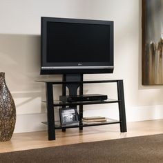 Sauder Mirage Panel TV Stand with Mount Black / Clear