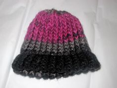 Knit Baby Hat: pink, gray, & black fade