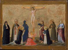 """The Crucifixion"" Artist: Fra Angelico (Guido di Pietro) (Italian, Vicchio di Mugello ca. 1395–1455 Rome) Date: possibly ca. 1440 Medium: Tempera transferred to canvas, laid down on wood, gold ground Dimensions: 13 3/8 x 19 3/4 in. (34 x 50.2 cm); set in panel 15 3/4 x 21 1/4 in. (40 x 54 cm)"