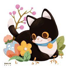 ArtStation - Kuro Neko the Scaredy Cat, Zhi Lin Lim Art And Illustration, Cute Animal Illustration, Character Illustration, Fantasy Character, Character Design, Cat Character, Neko, Posca Art, Image Chat