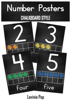 Most Popular Teaching Resources: Classroom Chalkboard Posters Numbers with Ten Fram...
