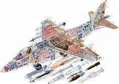 Harrier cutaway illustration Military Jets, Military Aircraft, Cutaway, Fighter Aircraft, Fighter Jets, Plane Drawing, Blueprint Drawing, Jet Air, Airplane Design