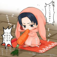 """(open rp. Be daddy) I munch on my carrot as you clean. You I didn't really like it so i hide it behind a pillow on the couch. You had me in different outfits everyday. I loved them. After I finish my carrot I get up and woddle to you """"Daddy !! I don't wif my cawwot!!"""" I say and smile as I make grabby hands. You pick me up and kiss my head """"good boy!"""" after a while you go sit down and somwthing pokes you. You look and pull out the carrot """"Levi!!"""" you scold me. """"What?"""" i whimper knowing i wss…"""