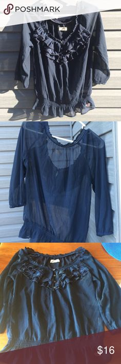 Hollister sheer blouse Hollister dark blue sheer blouse. It has ruffles on neck line with 4 buttons the bottom is an elastic style waist band. In  excellent condition Hollister Tops Blouses