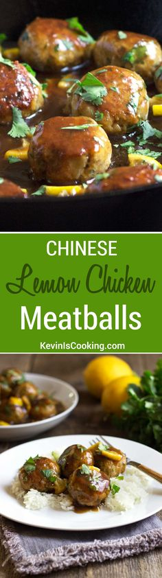 These addictive, tender chicken meatballs are a great mid-week dinner. Covered in a lemony sauce with great Asian flavors! High protein source so great to eat as a post workout meal. Lunch Recipes, Appetizer Recipes, Real Food Recipes, Cooking Recipes, Healthy Recipes, Appetizers, Dinner Recipes, Yummy Food, Tasty