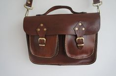 Chocolate brown Leather messenger bag, ipad ,tablet bag with extra pockets, ipad , galaxy note bag, microsoft surface bag on Etsy, $69.00