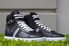 Barker Black Hi Top Sneaker in Black Calf