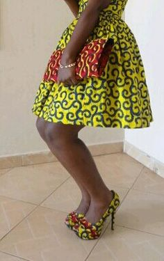 African print dress shoes and clutch by LyciaTurquis