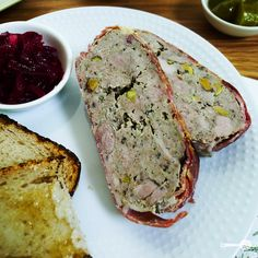 Pork belly and pistachio terrine, beetroot relish - Wholesome Cook Pork Belly Recipes, Veal Recipes, Cooking Recipes, Supper Recipes, Appetizer Recipes, Appetizers, Pate Recipes, Terrine Recipes, Savoury Recipes
