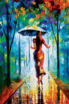 Running Towards Love - original art oil painting by Leonid Afremov Photo: This is an original oil on canvas. I use only a palette-knife for painting. Cactus Painting, City Painting, Oil Painting Abstract, Abstract Art, Umbrella Painting, Knife Painting, Woman Painting, Long Painting, Original Paintings