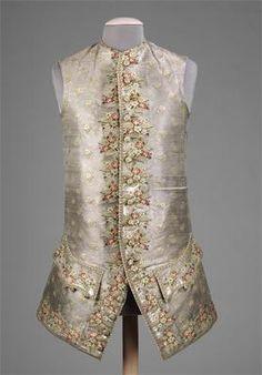 Mens Waistcoat 1750-1770 Silk, Metallic, and Linen