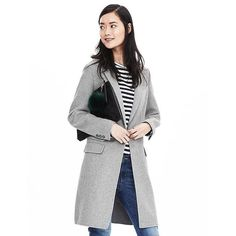 Banana Republic Womens Gray Wool Blend Long Coat ($290) ❤ liked on Polyvore featuring outerwear, coats, grey, wool blend coat, banana republic, long gray coat, petite coats and long sleeve coat