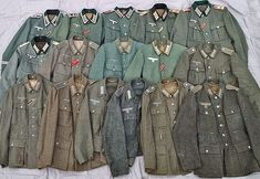 """"""" The various shades of field grey (feldgrau) German Army uniforms The early war years (top left) down to 1945 Note how the early field grey was more green and slightly bluish to the..."""