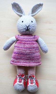 Hand Knit Bunny Cute Knitted Little Toy Bunny Girl Toy Cotton
