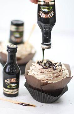 Bottoms Up! Irish Cream Hot Fudge Cupcakes