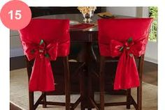 Red Holiday Bow Dining Chair Back Covers Christmas Tablescapes, Christmas Table Decorations, All Things Christmas, Christmas Holidays, Christmas Ornaments, Christmas Poinsettia, Christmas Chair Covers, Chair Back Covers, Holiday Crafts